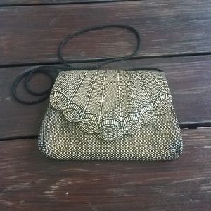 Vintage Gold Beaded Scalloped Purse